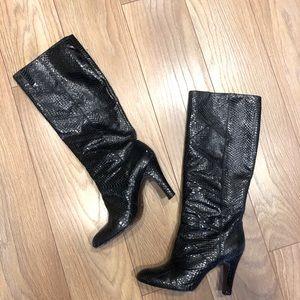 FRYE Ava Knee High Tall Black Snakeskin Boots